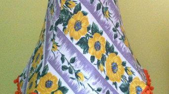 Grey & yellow Barkcloth Lampshade
