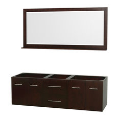 "Centra 72"" Double Vanity Base Only, No Sink, No Top, Espresso, 70"" Mirror"