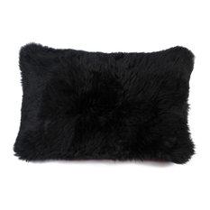 """Natural 100% Sheepskin New Zealand Pillow, Black, 12""""x20"""""""