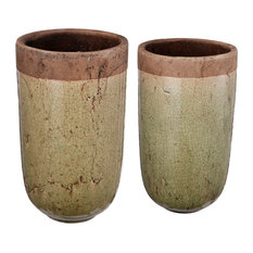 Candia Two-Tone Earthen Vases, 2-Piece Set