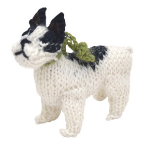Hand-Knit French Bulldog Ornament, Set of 2