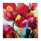 Hand Painted Flowers Wall Decor Artwork IV