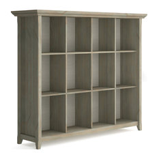 Simpli Home Acadian 12 Cubby Rustic Solid Wood Bookcase In Distressed Gray