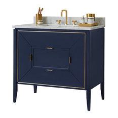 "Ronbow 36"" Amora Bathroom Vanity Set, Navy, Natural Carrara Marble"