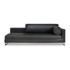 Chi Leather Chaise, Black, Left Arm