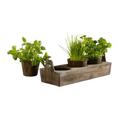 Wooden Garden Plant Tray, 3-Sectioned Tray for Herbs and Flowers