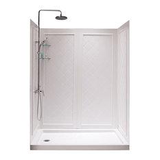 Dreamline 30x60 Left Drain Acrylic Shower Base And Qwall Backwall Kit White Stalls