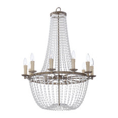 """Chandelier 10-Light With Antique Terra, Metal Imitation Pearl, CA, 25"""", 600W"""