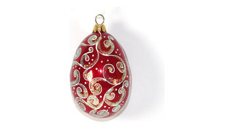 "Egg ""Holiday"" Hand Blown Glass Christmas Tree Ornament"
