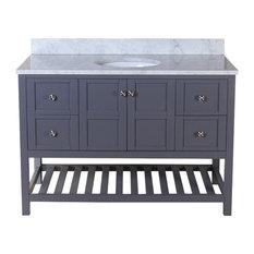 """Palmdale 49"""" Bathroom Vanity, Gray With Marble Vanity Top"""
