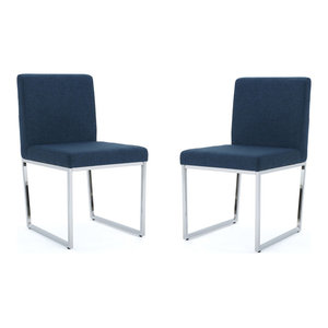 GDF Studio Dione Fabric Dining Chair With Chrome Legs, Navy Blue, Set of 2
