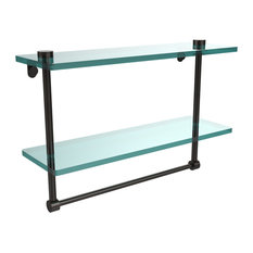"16"" Two Tiered Glass Shelf With Integrated Towel Bar"