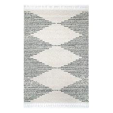 "Contemporary Geometric Area Rug, Off White, 6'7""x9'"