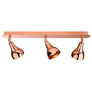 Country Traditional 3-Lamp Spotlight Bar, Copper