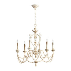 French country chandeliers houzz florent white washed french country beaded swag 6 light chandelier chandeliers mozeypictures Images