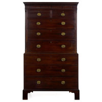 Consigned English George III Antique Mahogany Chest on Chest circa 1800