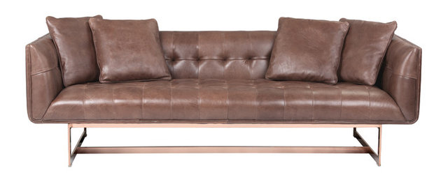 Matisse Sofa In Rose Gold Metal With 4 Pillows Saddle Leather