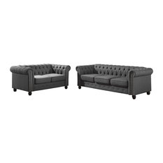 Furniture Import & Export Inc. - Venice Upholstered Living Room Sofa and Loveseat, 2-Piece Set, Klein Char - Living Room Furniture Sets