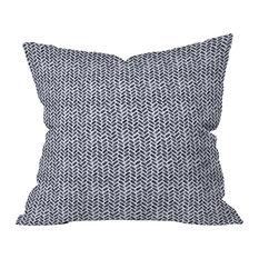 Little Arrow Design Co Arcadia Watercolor Herringbone In Indigo Throw Pillow