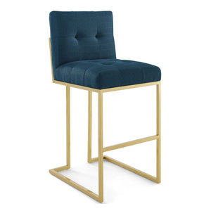 Privy Gold Stainless Steel Upholstered Fabric Bar Stool, Gold Azure