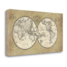 """""""French World Map"""" By Sue Schlabach, Giclee Print on Gallery Wrap Canvas"""