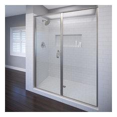 "Basco Shower Enclosures - Infinity Semi-Frameless Swing Shower Door, 45-46"", Clear, Brushed Nickel - Shower Doors"