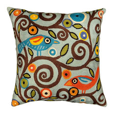"Klimt Tree Of Life Birds Blue Throw Pillow Cover Hand-embroidered, 18""x18"""