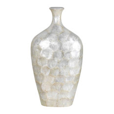 "Creamy 18.5"" Tropical/Safari Genuine Seashell Vase"