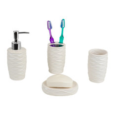 Curves 4-Piece Bath Accessory Set, White