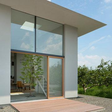 柿畑の塀を持つ家