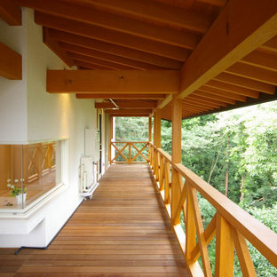 Inspiration for a large modern side yard deck skirting remodel in Other with a roof extension