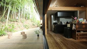 竹林とデッキ