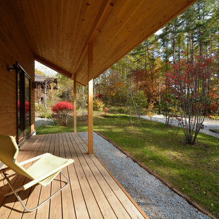 Inspiration for a scandinavian side yard deck remodel in Tokyo with a roof extension