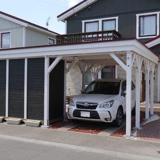 札幌の独立型トラディショナルスタイルのおしゃれなカーポート (1台用) の写真