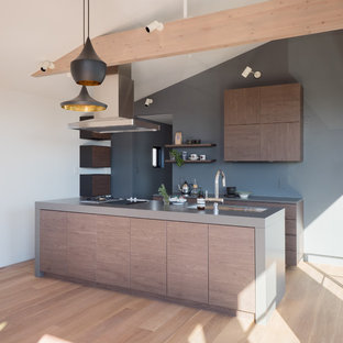 Photo of a midcentury single-wall kitchen in Tokyo Suburbs with a single-bowl sink, flat-panel cabinets, medium wood cabinets, stainless steel benchtops, painted wood floors, with island and beige floor.