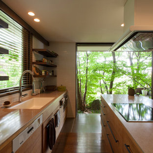 Inspiration for a midcentury galley open plan kitchen in Other with a single-bowl sink, medium hardwood floors, brown floor and brown benchtop.