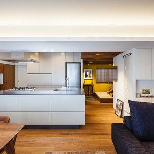 東京23区の中くらいのコンテンポラリースタイルのおしゃれなキッチン (シングルシンク、フラットパネル扉のキャビネット、白いキャビネット、ステンレスカウンター、シルバーの調理設備、無垢フローリング、茶色い床) の写真
