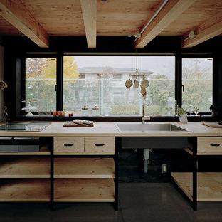 他の地域のインダストリアルスタイルのおしゃれなキッチン (ドロップインシンク、オープンシェルフ、淡色木目調キャビネット、木材カウンター、シルバーの調理設備の、アイランドなし) の写真
