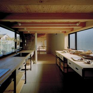 他の地域のインダストリアルスタイルのおしゃれなI型キッチン (ドロップインシンク、オープンシェルフ、淡色木目調キャビネット、木材カウンター、シルバーの調理設備の、アイランドなし) の写真