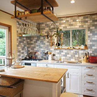 他の地域の小さいエクレクティックスタイルのおしゃれなキッチン (シングルシンク、落し込みパネル扉のキャビネット、白いキャビネット、無垢フローリング) の写真