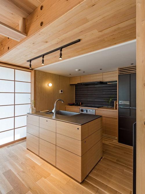 cuisine asiatique avec une cr dence marron photos et id es d co de cuisines. Black Bedroom Furniture Sets. Home Design Ideas
