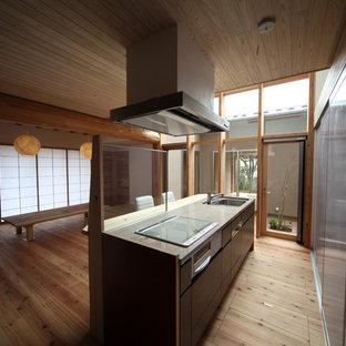 キッチン 木製カーテンウォール