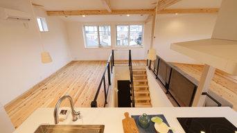 キッチンが中心、開放的で明るい2階キッチンダイニングリビング