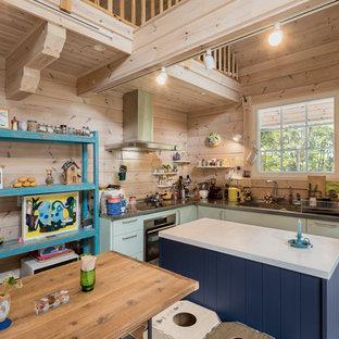 他の地域のカントリー風おしゃれなキッチン (シングルシンク、フラットパネル扉のキャビネット、ターコイズのキャビネット、ステンレスカウンター、茶色いキッチンパネル、木材のキッチンパネル、セラミックタイルの床、マルチカラーの床) の写真