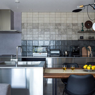 Photo of an asian galley open plan kitchen in Other with a single-bowl sink, flat-panel cabinets, stainless steel cabinets, stainless steel benchtops, multi-coloured splashback, stainless steel appliances, with island and multi-coloured floor.