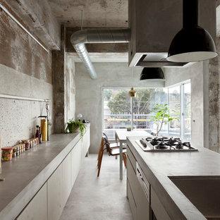 他の地域のインダストリアルスタイルのおしゃれなキッチン (シングルシンク、フラットパネル扉のキャビネット、白いキャビネット、コンクリートカウンター、コンクリートの床、グレーの床、グレーのキッチンカウンター) の写真