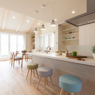 他の地域の北欧スタイルのおしゃれなキッチン (一体型シンク、淡色無垢フローリング、ベージュの床) の写真