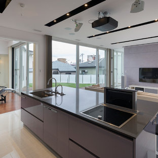 Contemporary open concept kitchen designs - Inspiration for a contemporary galley open concept kitchen remodel in Osaka with an undermount sink, flat-panel cabinets, purple cabinets, black appliances and an island