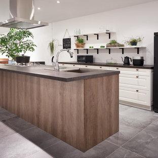 大阪のラスティックスタイルのおしゃれなキッチン (アンダーカウンターシンク、インセット扉のキャビネット、中間色木目調キャビネット、シルバーの調理設備の、グレーの床) の写真