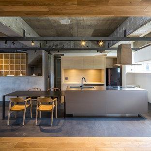 東京都下の中くらいのインダストリアルスタイルのおしゃれなキッチン (一体型シンク、インセット扉のキャビネット、ステンレスキャビネット、ステンレスカウンター、黒い調理設備、コンクリートの床、グレーの床、グレーのキッチンカウンター) の写真